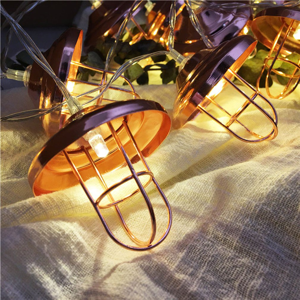 10/20 LEDs Rose Gold Geometric Metal Lampshade String Lights,Retro Lampshade Fairy Lights For Chirstmas, Garden Home Decor