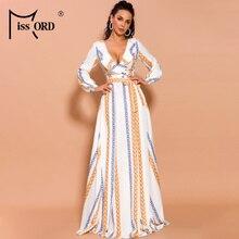 Missord, сексуальные платья с длинным рукавом и глубоким v-образным вырезом, женское элегантное платье макси с высоким разрезом, AM0032