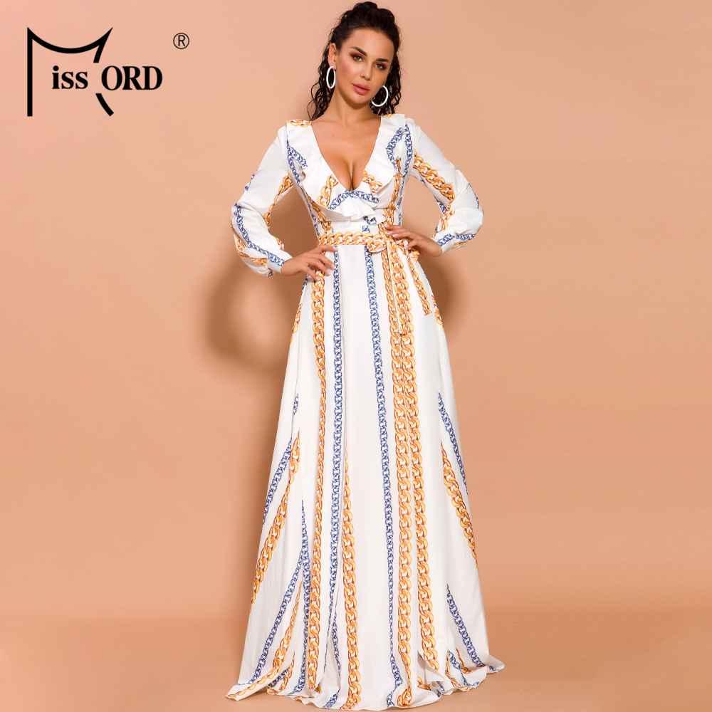 Missord 2020 Sexy  Deep V Long Sleeve Print Dresses Female High Split Maxi Elegant Dress AM0032