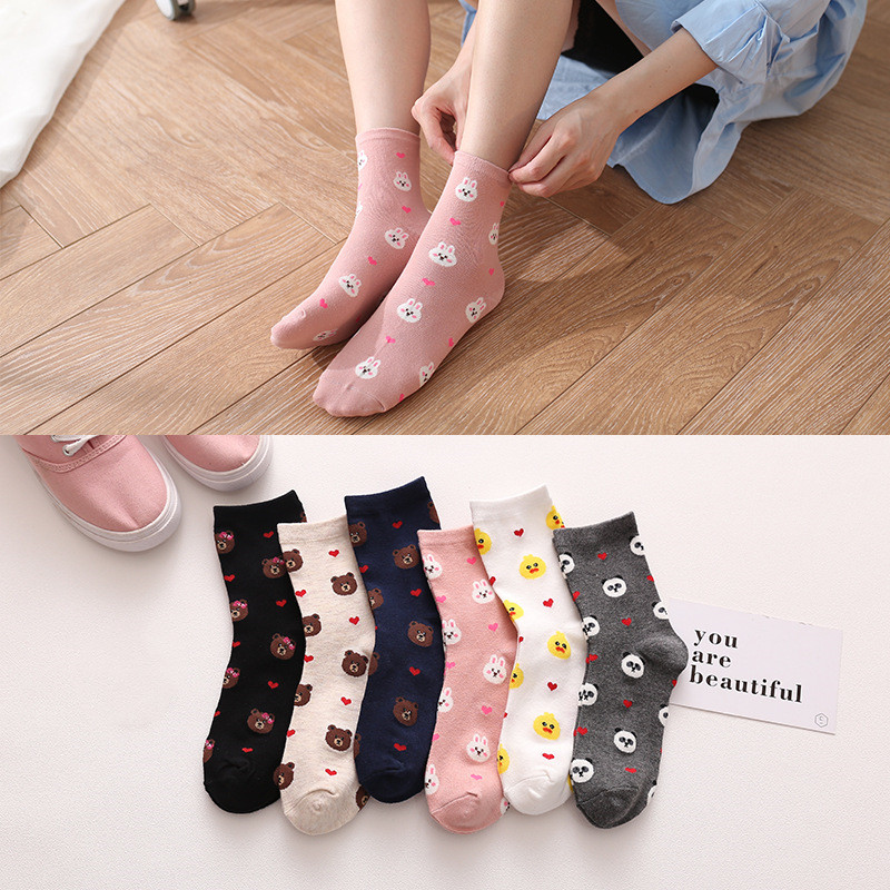 Fashion Middle Tube Cotton Socks Women Cartoon Bear Panda Duck Big Dot Kawaii Korean Harajuku Women Funny Socks Autumn Winter