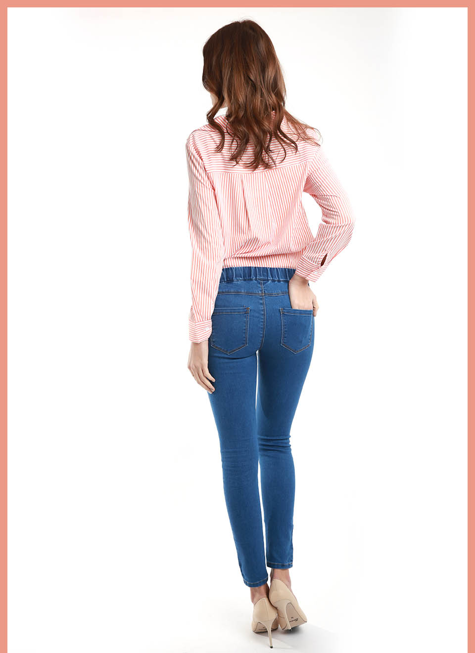 11.11 Minimalist Women Denim Skinny Stretch Fake Front Pocket Jeans
