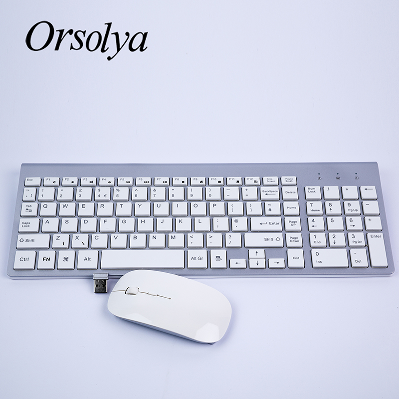 Teclado e Mouse Whisper-quiet para Computador Notebook e Desktop Escritório em Casa 2.4g sem Fio Fino Combo Orsolya Portátil pc