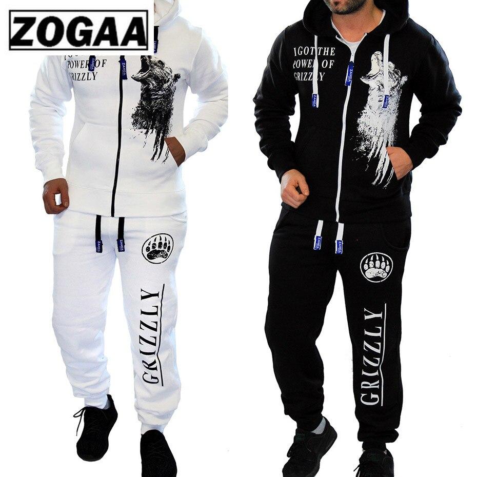 2 Pieces Long Sleeve Hoodies Pants Set ZOGAA 2019 Male Tracksuit Outdoors Suit Men's Gyms Set Casual Sportswear Suit Plus Size