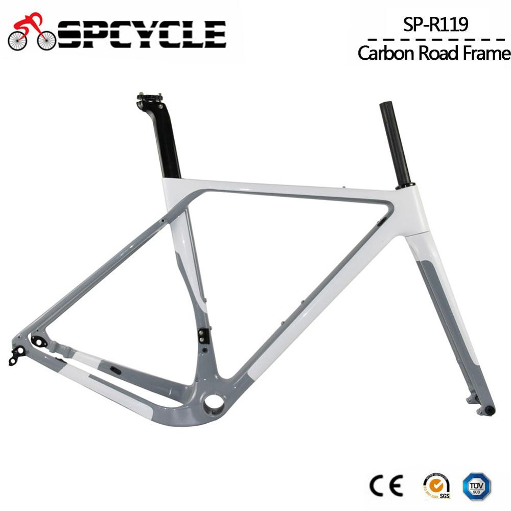 Aero Carbon Gravel Bicycle Frame T1000 Carbon Cyclocross Bike Frameset Disc Brake Road title=