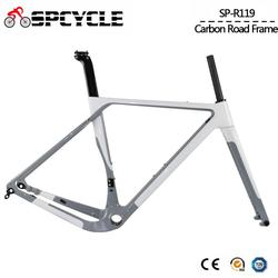 Marco de bicicleta de grava de carbono Aero T1000 bicicleta de ciclocross de carbono Frameset disco Freno de carretera Marco de bicicleta frontal 100*12mm trasero 142*12mm