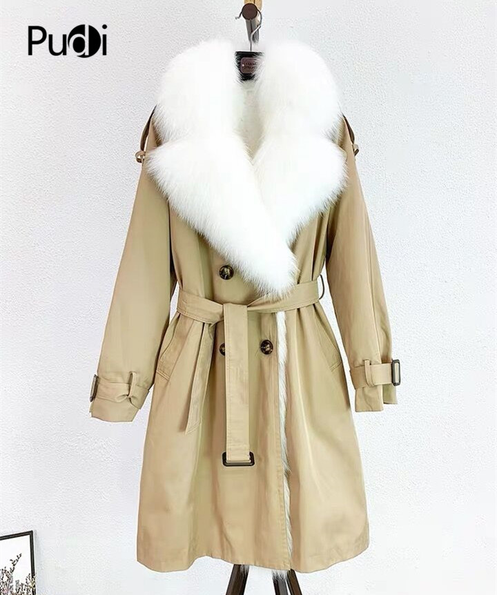 Pudi Woman Real Fur Coat Jacket Trench 2019 New Fur Coats With Fox Fur Collar Rex Rabbit Fur Lining  Tx22b01