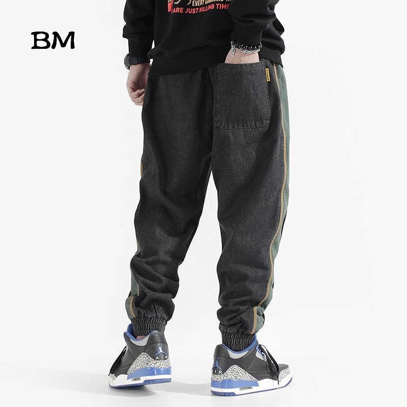 2019 модные черные мужские джинсы в полоску, корейский стиль, хип-хоп джинсы для бега, Харадзюку, мужские джинсовые штаны, мешковатые брюки