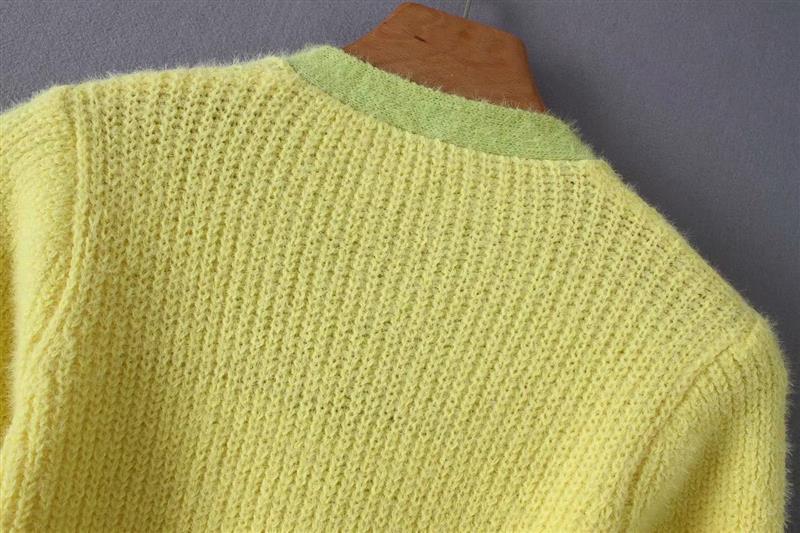 Pink cardigan womens sweaters korean crop sweater yellow autumn tops short sleeve v neck short cardigan mohair sweater fall 19 15