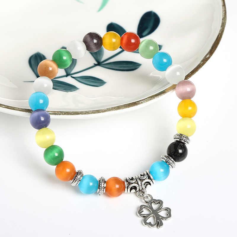 JD 8 Mm Nhiều Màu Sắc Opal Hạt Vòng Tay Pha Lê Thời Trang Nữ Vòng Tay Cỏ Bốn Lá May Mắn Mặt Dây Chuyền Vòng Tay Cho Nữ Sỉ