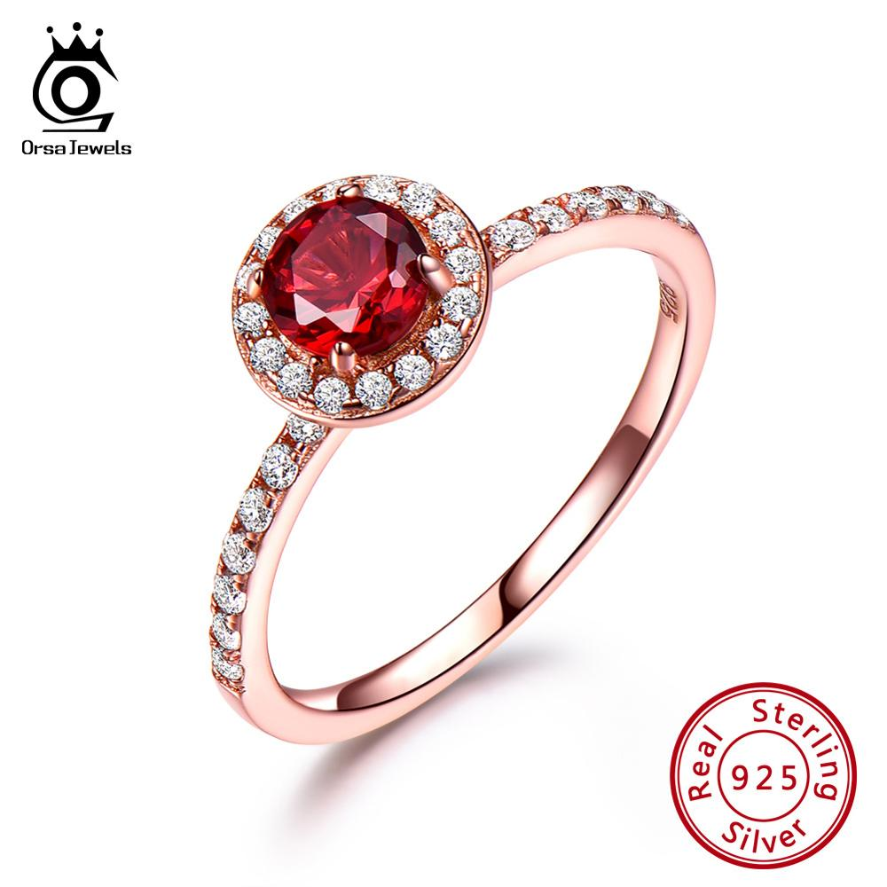 ORSA JEWELS Authentic 925 Sterling Silver Wedding Rings Rose Gold Red Garnet With Zirconia Engagement Ring Fine Jewelry VSR13