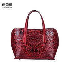 NAISIBAO Women bag 2019 New genuine leather bag high quality leather embossing fashion tote women handbags shoulder bag high quality genuine leather fashion women handmade vintage women single one shoulder bag beautiful female tote bag