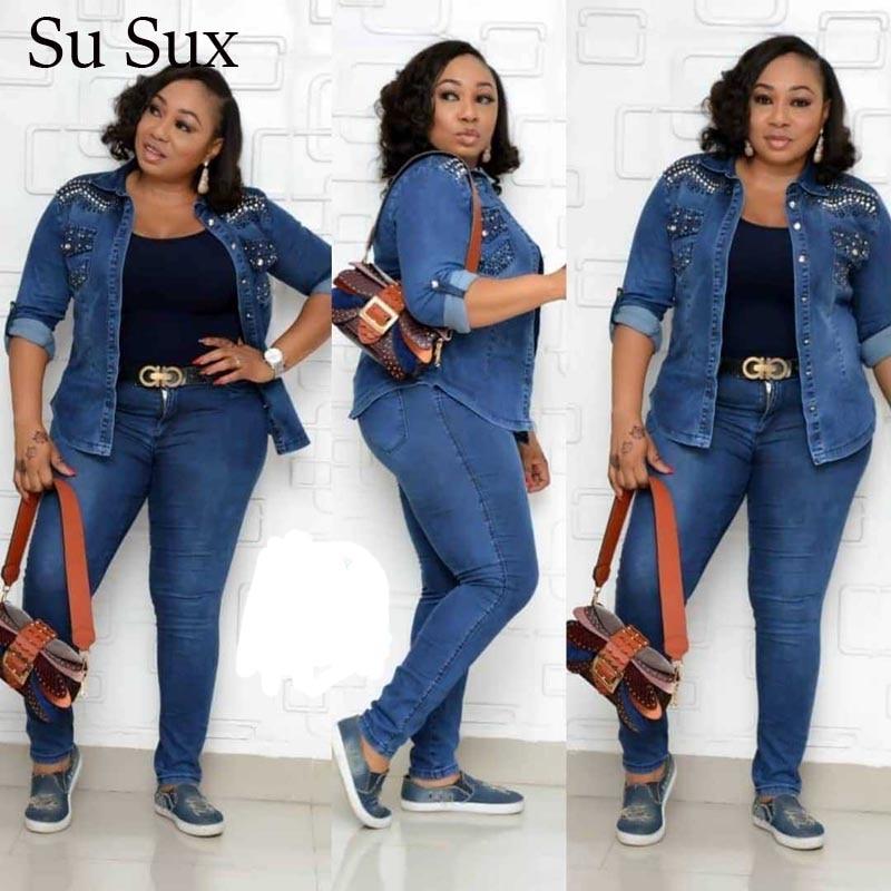 Casual Jeans Suit Denim Two Piece Set Women Outfits Sequins Turn-down Collar Top&Pencil Pants Set Tracksuit 4XL Plus Size Set