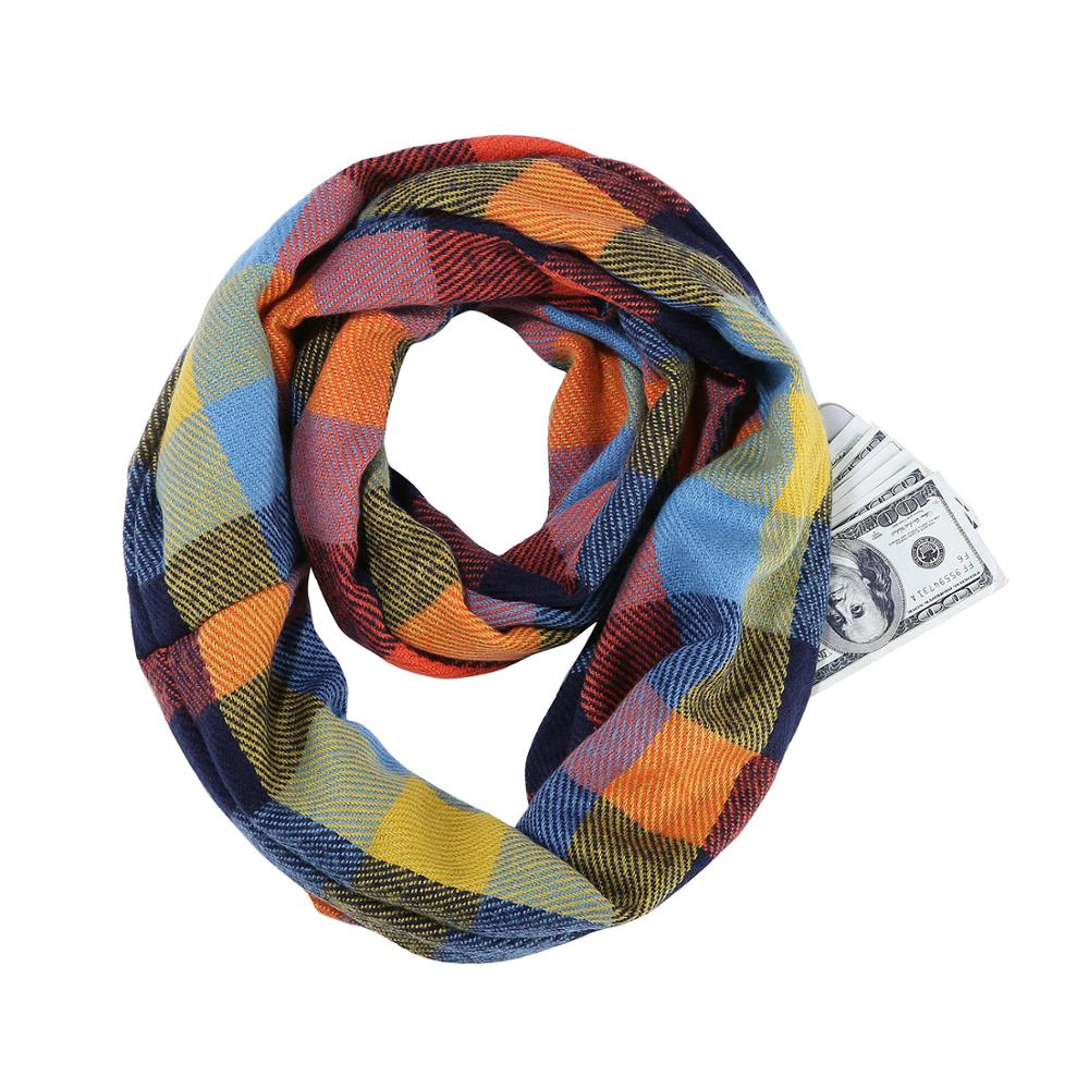 Plaid Scarf Infinity Wrap Hidden Zipper Pocket Warm Women Wrap With Secret Hidden Zipper Pocket Infinity Travel Scarfs Woman Man