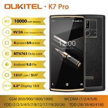 "OUKITEL K7 Pro Smartphone Android 9.0 9V/2A cep telefonu MT6763 Octa çekirdek 4G RAM 64G ROM 6.0 ""FHD + 18:9 10000mAh parmak izi"