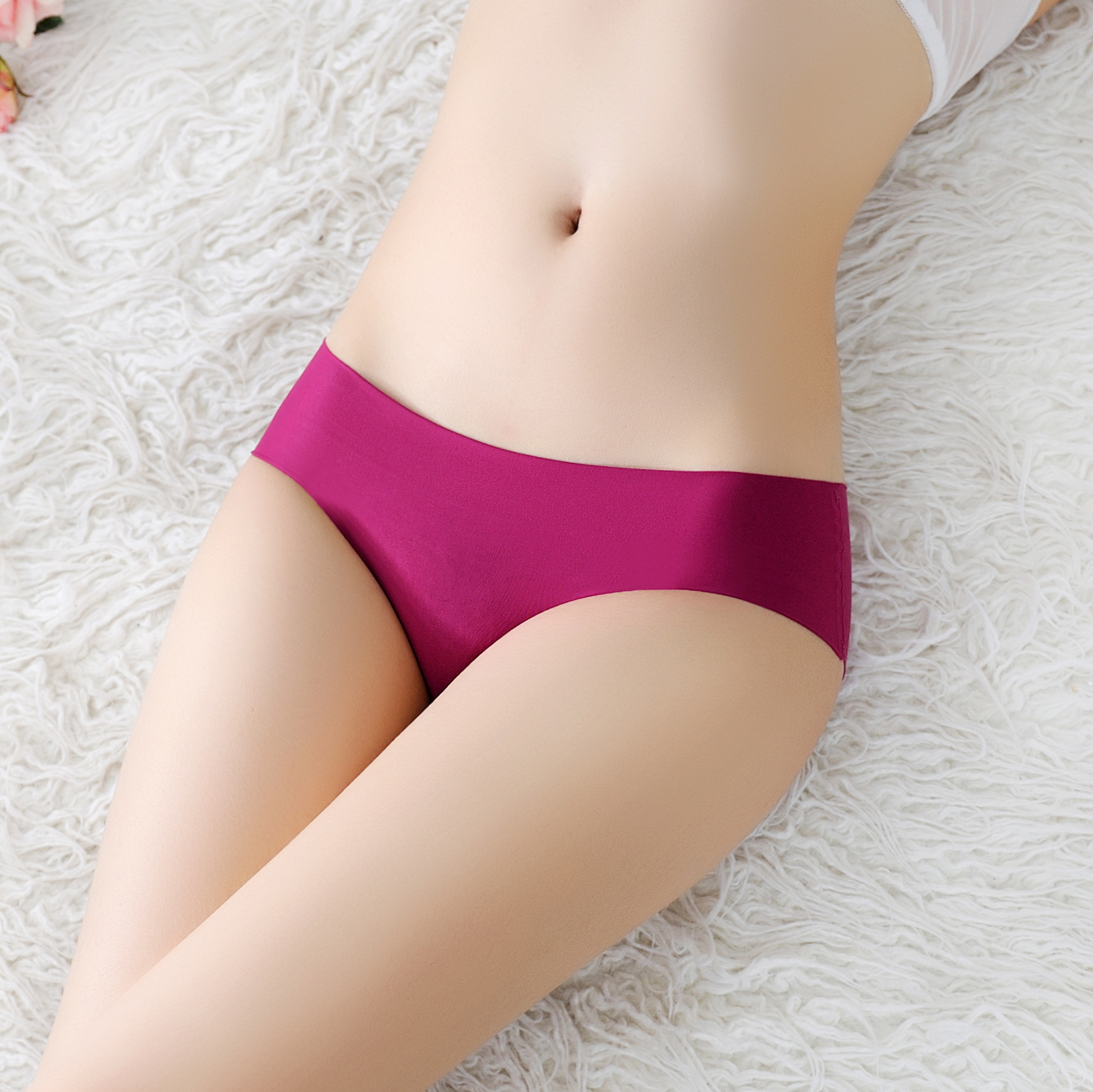 Low Waist Seamless Underwear Pink Women Female Solid Ladies Panties Lingerie Sexy Seamless Panties Women Silk Intimates Briefs