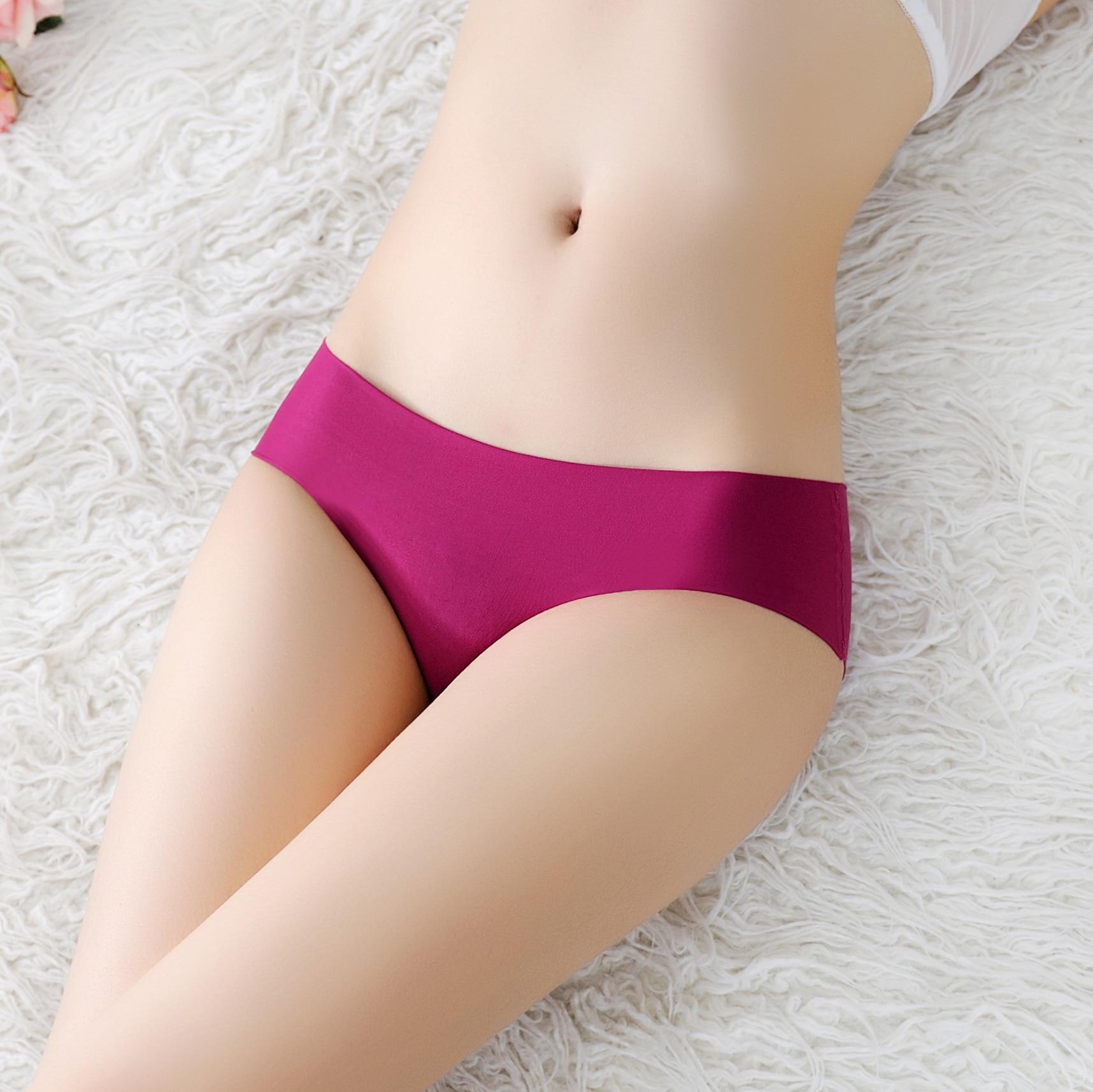 Low Waist Seamless Underwear Pink Women Female Solid Ladies Panties Lingerie Sexy Seamless Panties Women Silk Intimates Briefs