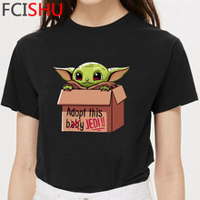 The Mandalorian Baby Yoda Tshirt Men Kawaii Bebe Yoda Graphic T-shirt Cute Yoda Anime Tshirt Hip Hop Streetwear Top Tees Male(China)