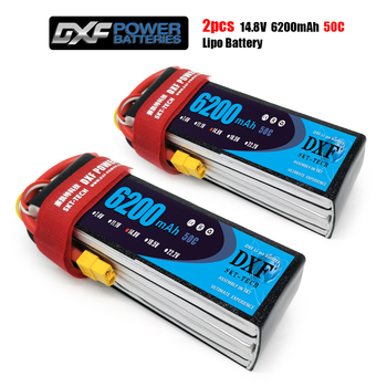 2PCS DXF RC Lipo Battery 4S 14.8V 6200mah 50C MAX 100C Bateria for RC AKKU Car Boat Airplane Quadcopter battery
