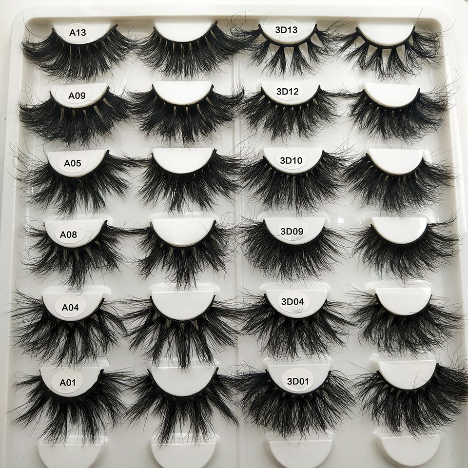 Mink Lashes 25mm Fluffy Messy 3d False Eyelashes Handmade Dramatic Long Natural Lashes 100% Mink Eyelashes Extension Makeup Tool