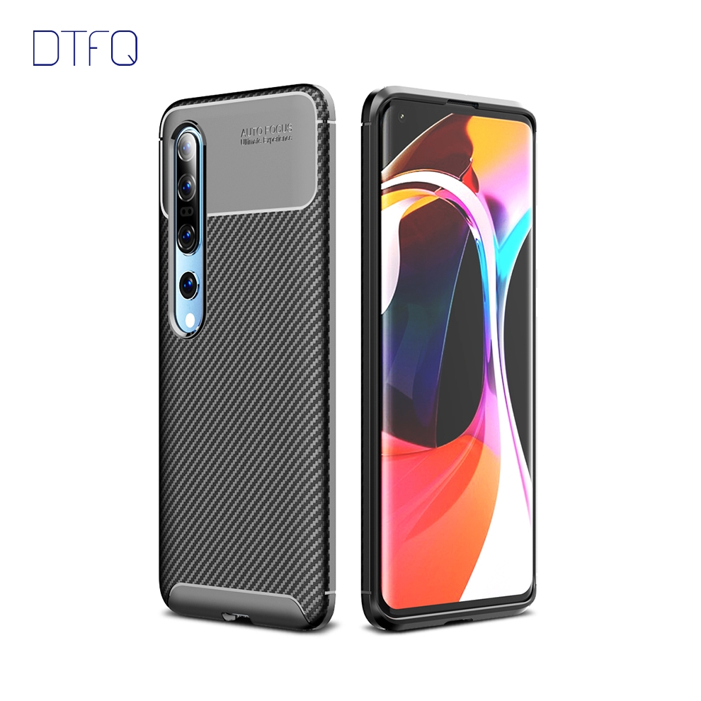 For Xiaomi Mi 10 Case Soft TPU Matte Back Cover Skin Carbon Fiber Shockproof Silicone Case For Xiaomi Mi 10 Pro 5G