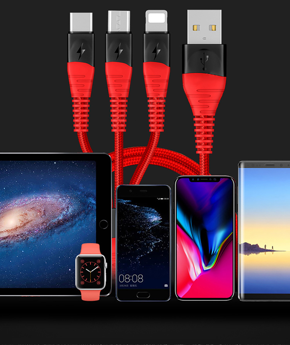 !ACCEZZ 3 in 1 Charger Cable Lighting For iPhone X XS MAX XR 8 7 Plus Micro USB Type C Charging For Mi9 8 Huawei P30 Data Cable (18)