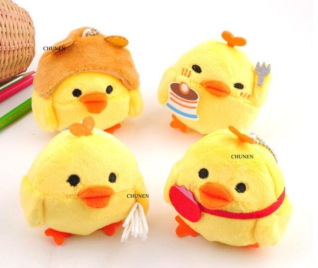 4 Ontwerpen, Kleine Gevulde Kip Speelgoed Pop, pluche Gift Sleutelhanger Speelgoed Bruidsboeket Bloem Gift Knuffel Pop