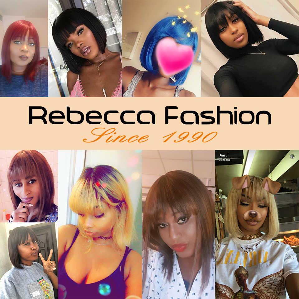 Rebecca Pixie Cut Bob Pruik Peruaanse Remy Rechte Korte Menselijk Haar Pruiken Voor Vrouwen Volledige Pruik Ombre Rood Blond Menselijk haar Pony Pruik
