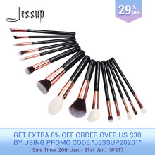 Jessup Kuas Set Kuas Makeup Hitam/Mawar Emas Pincel Maquiagem 15 Buah Kuas Make Up Foundation Bubuk Definer Shader kuas(China)