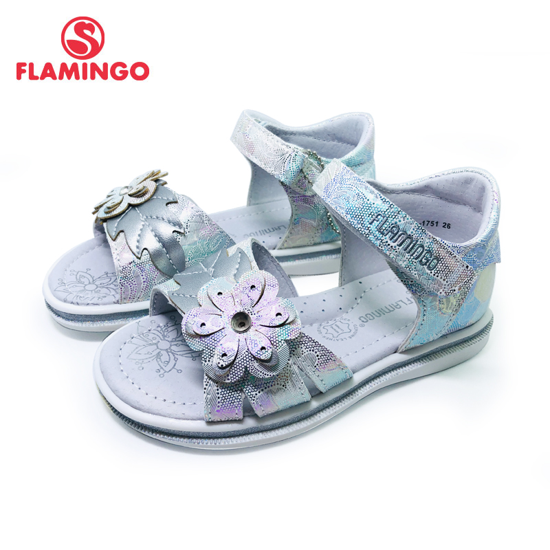 FLAMINGO 2020 Brand Cut-Outs Summer Hook&Loop Casual Sandals Insole Pricness Outdoor Little Shoes Flat SIZE 26-31# 201S-HL-1751