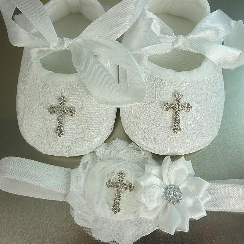 Cross Headband BraceletShoes Sock Christening Baptism First 1st Communion Baby Dedication Wedding Flower Girl Decoration Gift