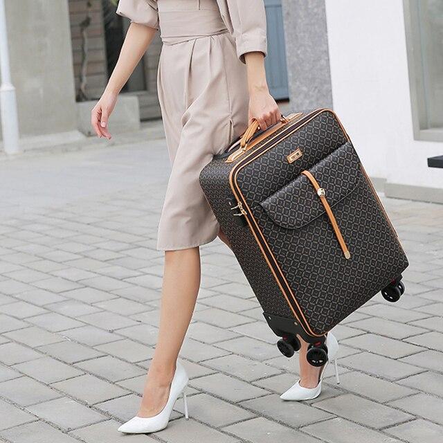 Retro Travel Rolling Luggage With Handbag
