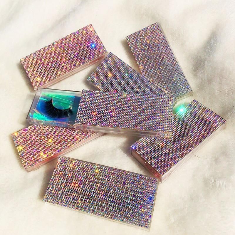 Custom Packaging Glitter Rhinestone Lash Case 3D 5D Mink Eyelashes