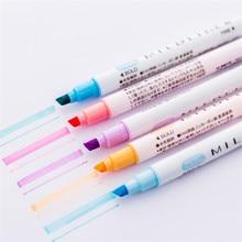 1 pçs bonito doce cor highlighter caneta papelaria dupla cabeça fluorescente marcador caneta marca material da escola de escritório