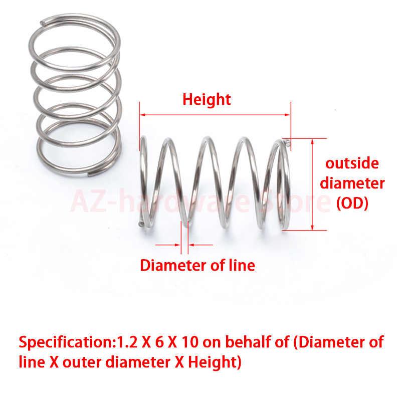 304 mola de aço inoxidável do retorno da mola de compressão diâmetro de fio de aço 0.4mm fora do diâmetro 8mm pressão 10 pces