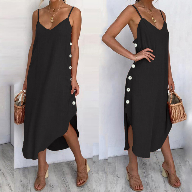 Women's Sundress Sexy Spaghetti Straps Summer Beach Dress 2019 Celmia Casual Loose Button Down Asymmetrical Plus Size Vestidos