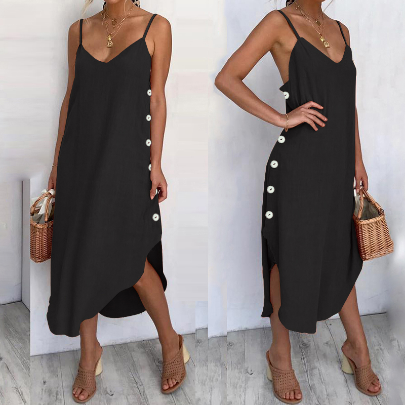 Women's Sundress <font><b>Sexy</b></font> Spaghetti Straps Summer Beach <font><b>Dress</b></font> 2020 Celmia Casual Loose Button Down Asymmetrical <font><b>Plus</b></font> <font><b>Size</b></font> Vestidos image