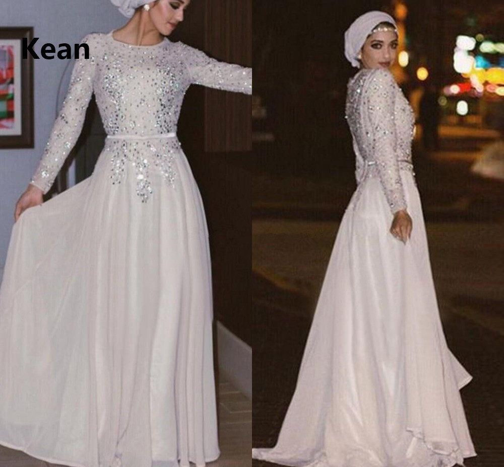 Vintage Muslim Evening Dress Chiffon Full Sleeve Applique Scarf Islamic Dubai Kaftan Saudi Arabic Evening Gown Prom Dress