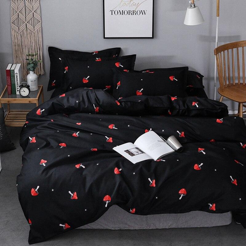 Mushroom Comforter Bedding Set Luxury Bed Set Bed Linen Black Duvet Cover Set Queen King Size Kid Bed Cover Bedspread Pillowcase