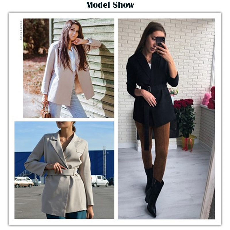 Rapwriter Autumn Winter Notched Women's Blazers Sashes Long Jackets Women 2019 Fall Outerwear England Style Solid Cardigan Tops