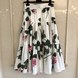 Image 2 - グランドデザイナースカート女性のためのトップ品質の高級花プリントふくらはぎスカート女性のための 2020