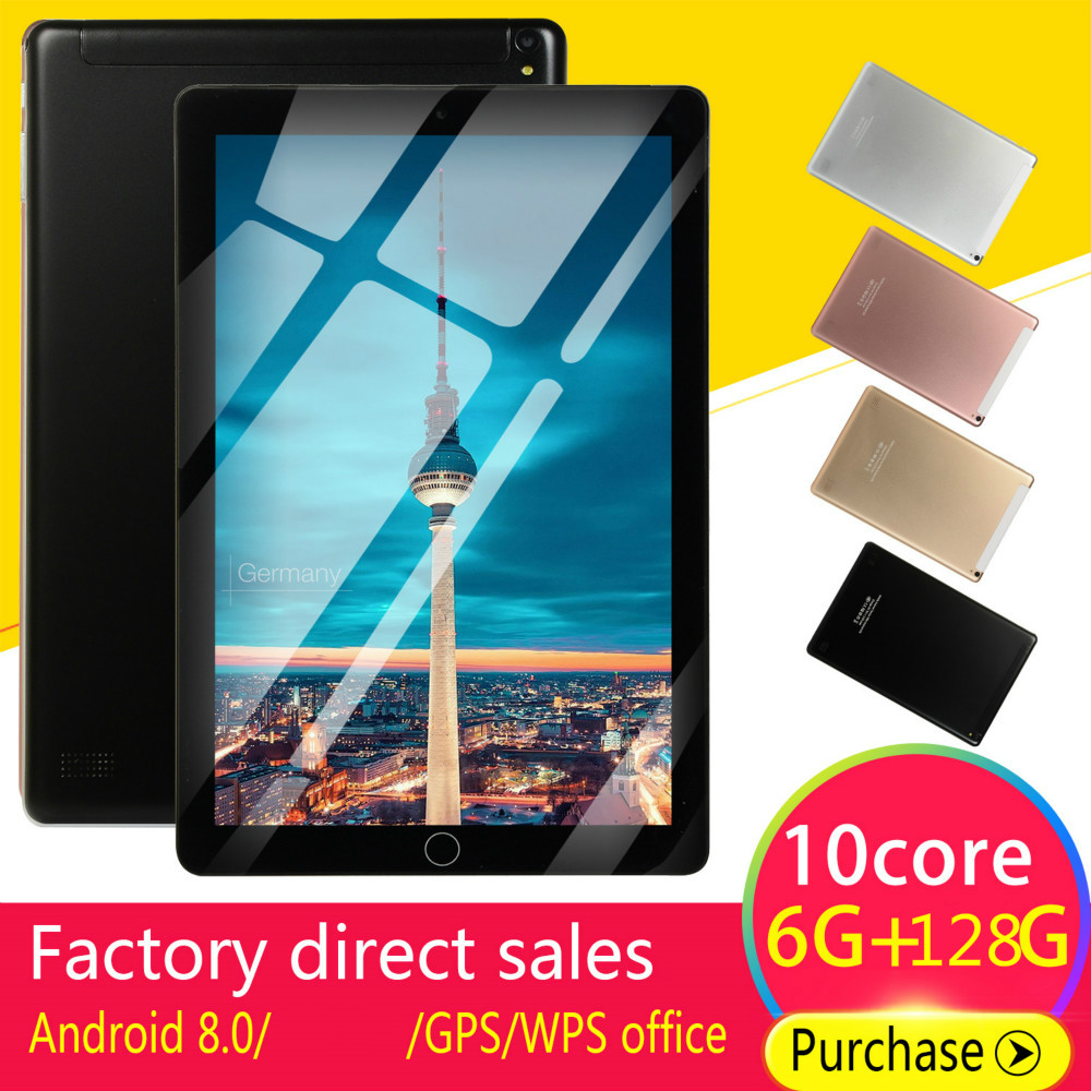 5000mAh 10 Inch Android Tablets 8.0 Quad Core 6GB RAM Internal 128G Camera 5MP Tablet With A Sim Card PC WiFi GPS Bluetooth