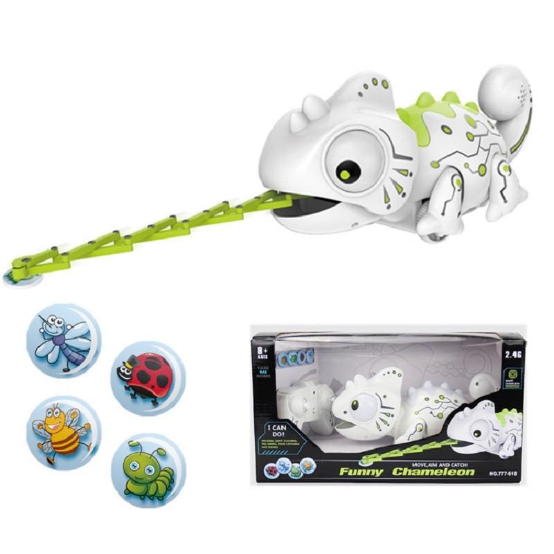 rc robo brinquedos de controle remoto camaleao 2 4ghz animal estimacao brinquedo inteligente para criancas presente