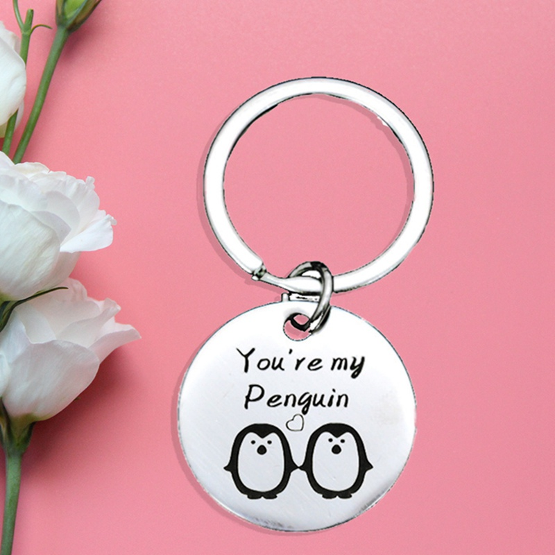 BE/_ Stainless Steel You Are My Penguin Key Ring Holder Keychain Couple Gift US