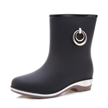 Rain Boots Women Short Tube Rain Shoes Adult Water Boots Anti-skid Water Shoes Jelly Rubber Shoes Rain Boots Size 36-40