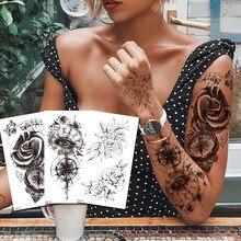 Водостойкие временные тату-наклейки с компасом, поддельные тату, боди-арт флэш-тату, татуаж рук, рук, спины, стоп, тату для девочек, женщин, му...