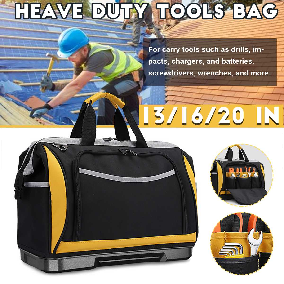 Tool Bag Portable Electrician Bag Multifunction Repair Installation Oxford Cloth Large Thicken Tool Bag Work Pocket Bag