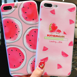 Image 3 - Summer small fresh fruit phone case for iPhone X XS8 7 6 6S PluS  5 5s 5SE silicone 3D embossed soft shell drop protection cover