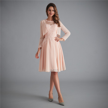 2020Pale Pink A-Line Scoop Neck 3/4 Sleeves Tea Length Mother Of The Bride Dress With Jacket Plus Size Vestido Mae Da Noiva