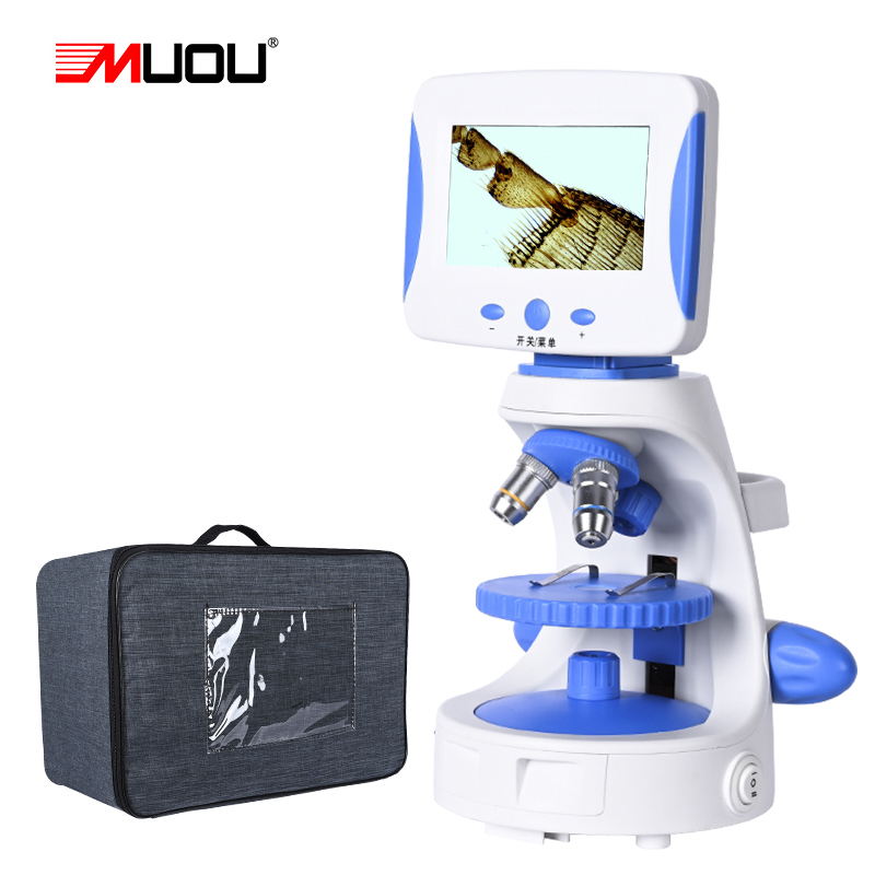 Zoom 2000X HD 4.3'' TV Microscope Biological Laboratory Lad Electronic Digital LED Student Education + Luxury Handbag + Caliper
