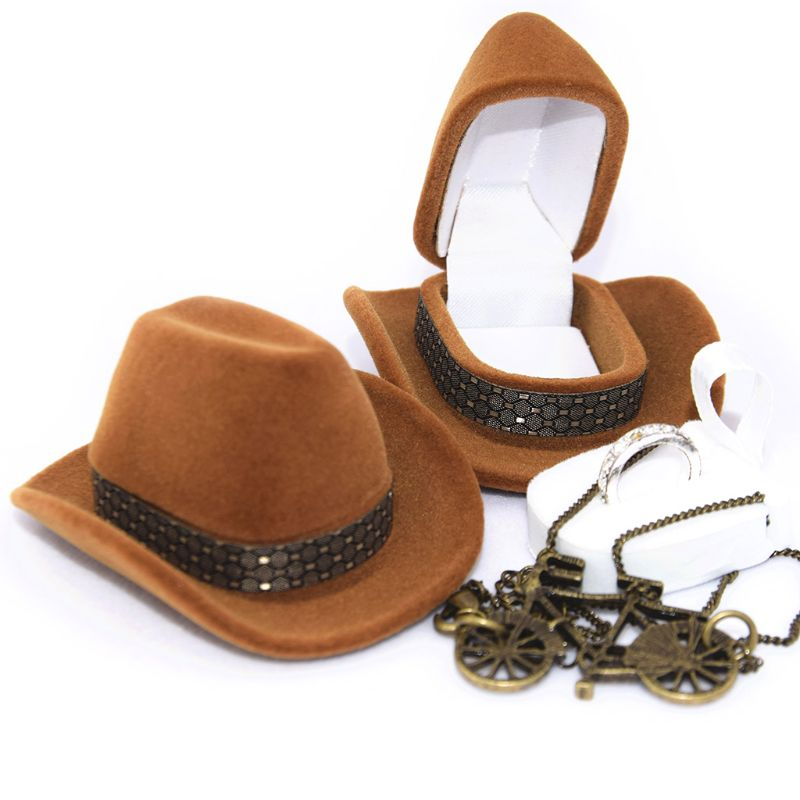 Trendy Creative Cowboy Hat Shape Rings Box Jewellery Display Storage Case For Christmas Festival Gift T4MD